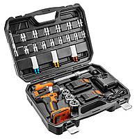 """Бесщеточный аккумуляторный ударный гайковерт 2x18V/2.0Ah с набором головок 1/2"""" NEO TOOLS 08-600, фото 1"""