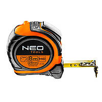 Рулетка стальная лента 8 м x 25 мм магнит двусторонняя печать NEO TOOLS 67-198