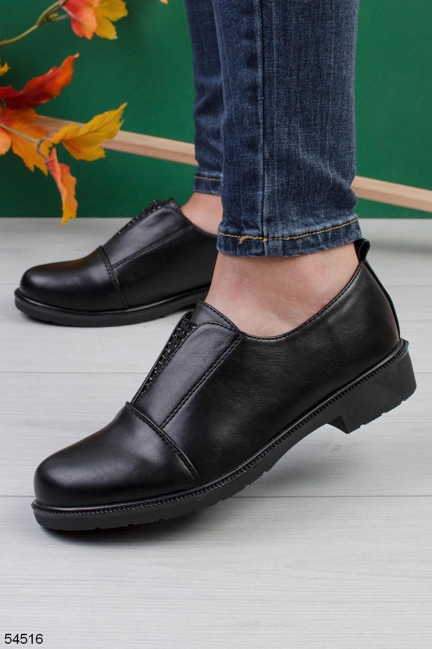 Женские туфли черные со стразами эко кожа