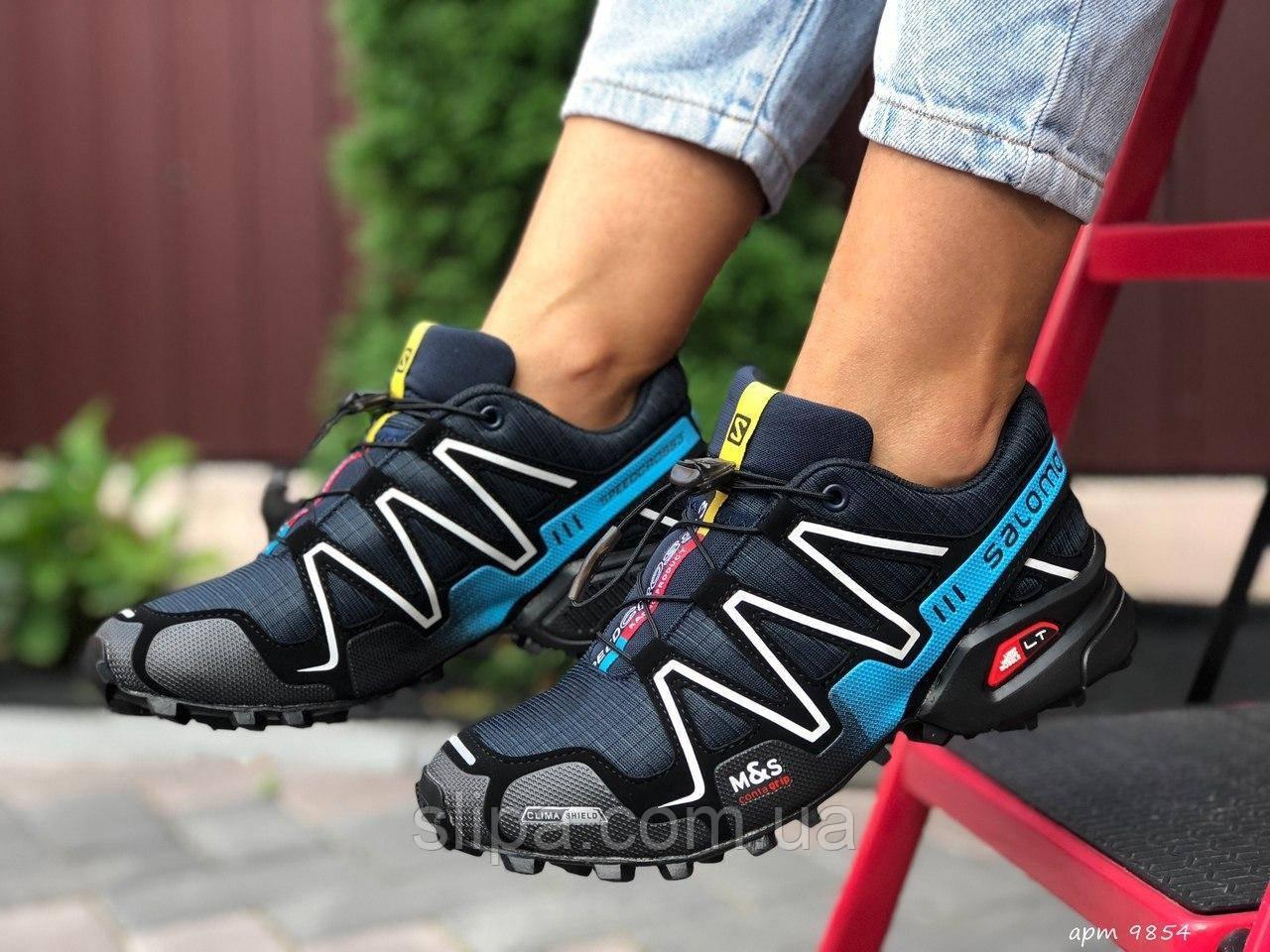 Женские кроссовки Salomon Speedcross 3 чёрные с белым и голубым