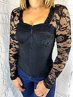 Рубашка женская гипюр черная 8714 Крупный ОПТ