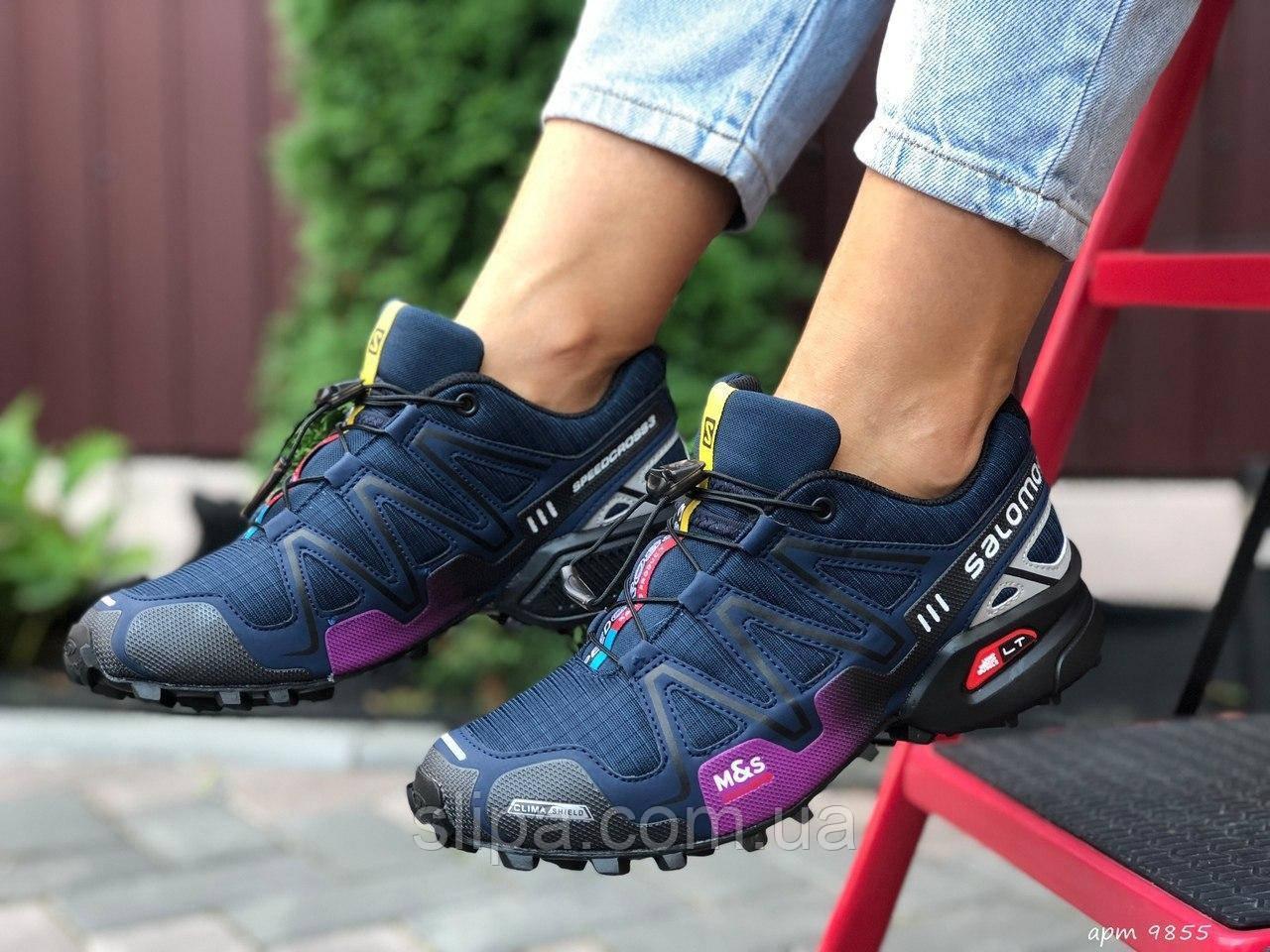 Женские кроссовки Salomon Speedcross 3 тёмно синие с фиолетовым