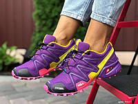 Женские кроссовки Salomon Speedcross 3 фиолетовые с жёлтым, фото 1