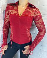 Сорочка жіноча гіпюр червона 8713