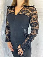 Рубашка женская гипюр черная  8713 ОПТ
