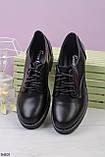Женские туфли черные со шнуровкой на каблуке 5 см эко кожа, фото 2