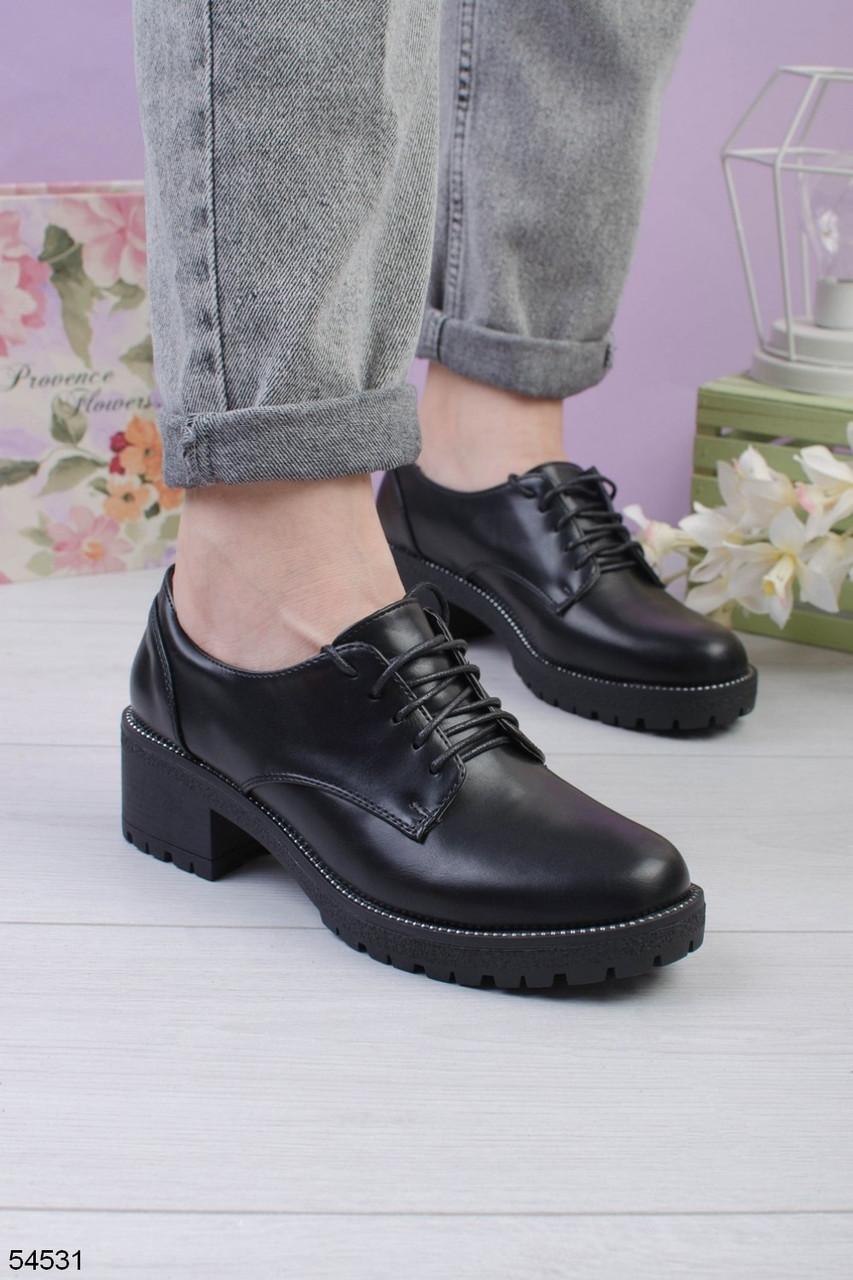 Женские туфли черные со шнуровкой на каблуке 5 см эко кожа