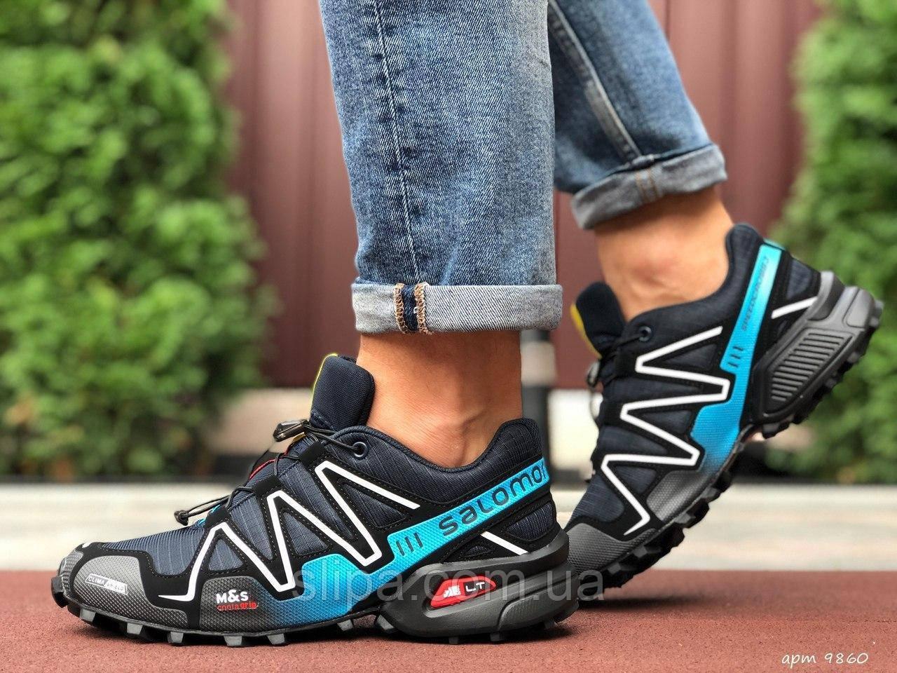 Мужские кроссовки Salomon Speedcross 3 тёмно синие с голубым