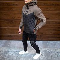 Непромокаемая мужская осенне/весенняя куртка Soft Shell с капюшоном черная с хаки - S, XL