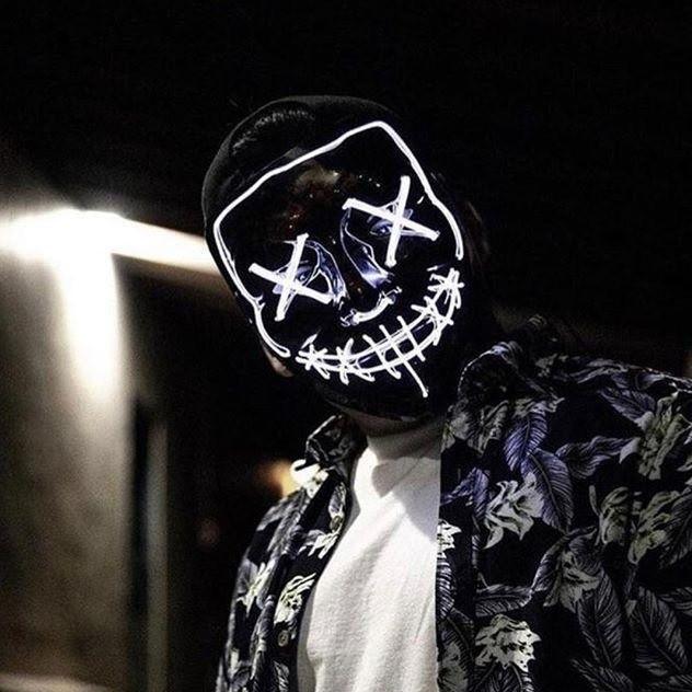 """МАСКА на Helloween 2020! Светящаяся НЕОНОВАЯ маска - """"Судная ночь"""" БЕЛАЯ"""