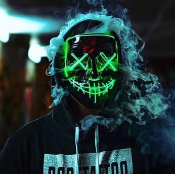 """МАСКА на Helloween 2020! Світиться НЕОНОВА маска - """"Судно ніч"""" GREEN"""
