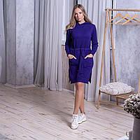 Тепле жіноче плаття з кишенями і капюшоном фіолетового кольору розмір L / XL