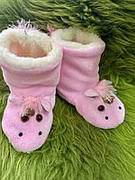 Чуні дитячі з овечої шерсті рожеві, єдиноріжка, фото 1