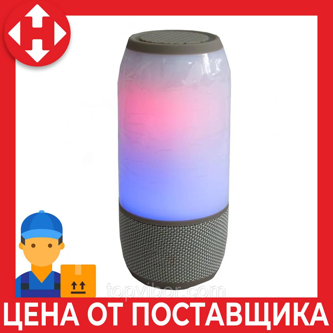 Светящаяся беспроводная светящаяся LED колонка 3 серая, переносная колонка до ноутбука c микрофоном