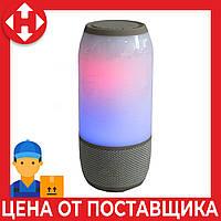 Светящаяся беспроводная светящаяся LED колонка 3 серая, переносная колонка до ноутбука c микрофоном, фото 1