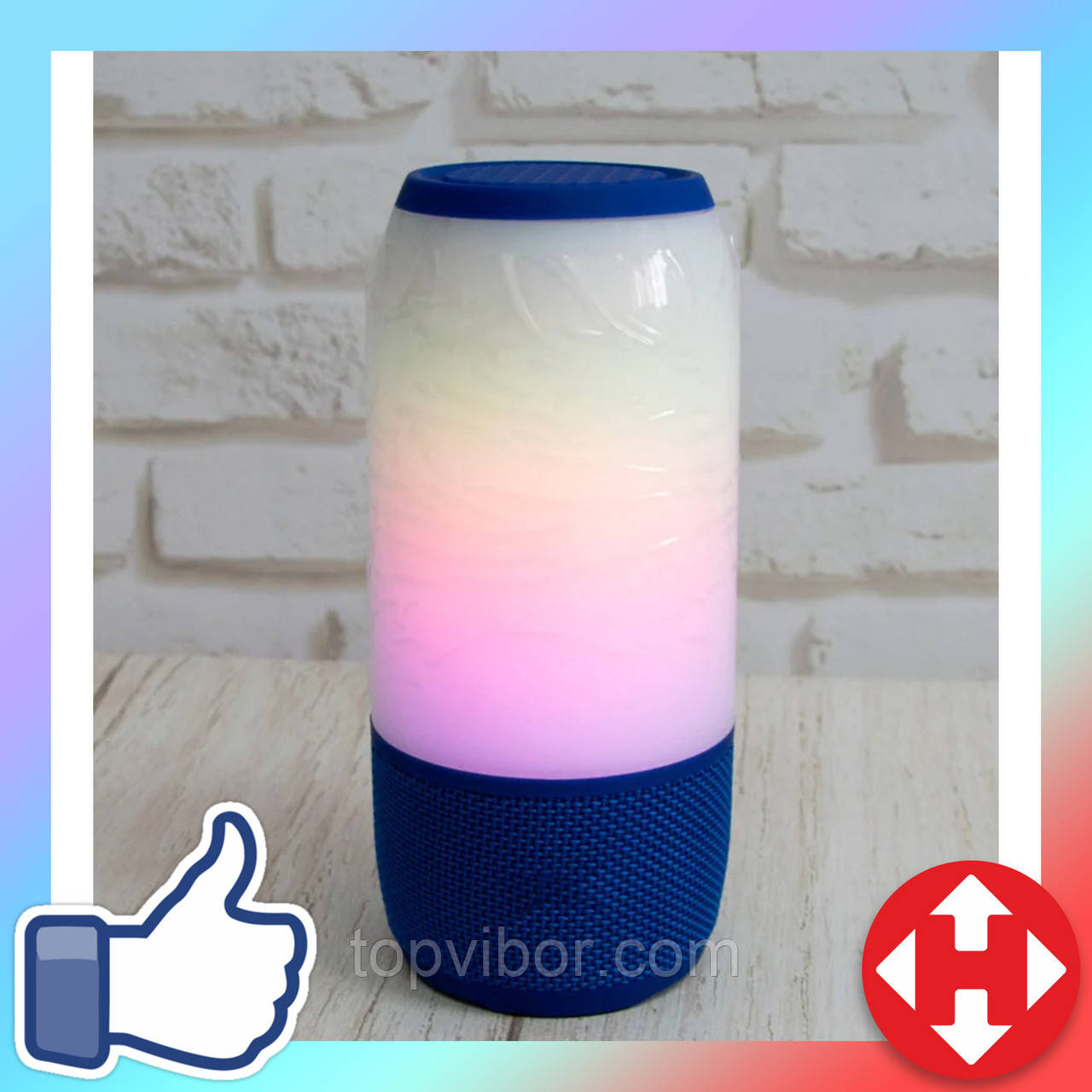 LED колонка Светящаяся синяя, переносная блютуз колонка для телефона с флешкой и микрофоном