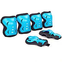 Комплект наколенники и налокотники детские защитные перчатки на ладони Голубой-черный (SK-6328P) S (3-7 лет), фото 1