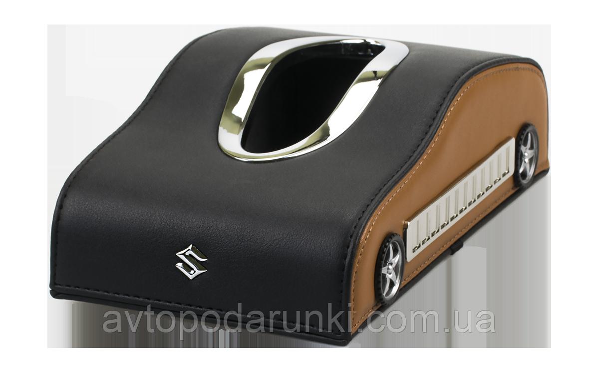 Салфетница SUZUKI в автомобиль на торпеду  с ячейками под номер телефона (черная кожаная с коричневыми