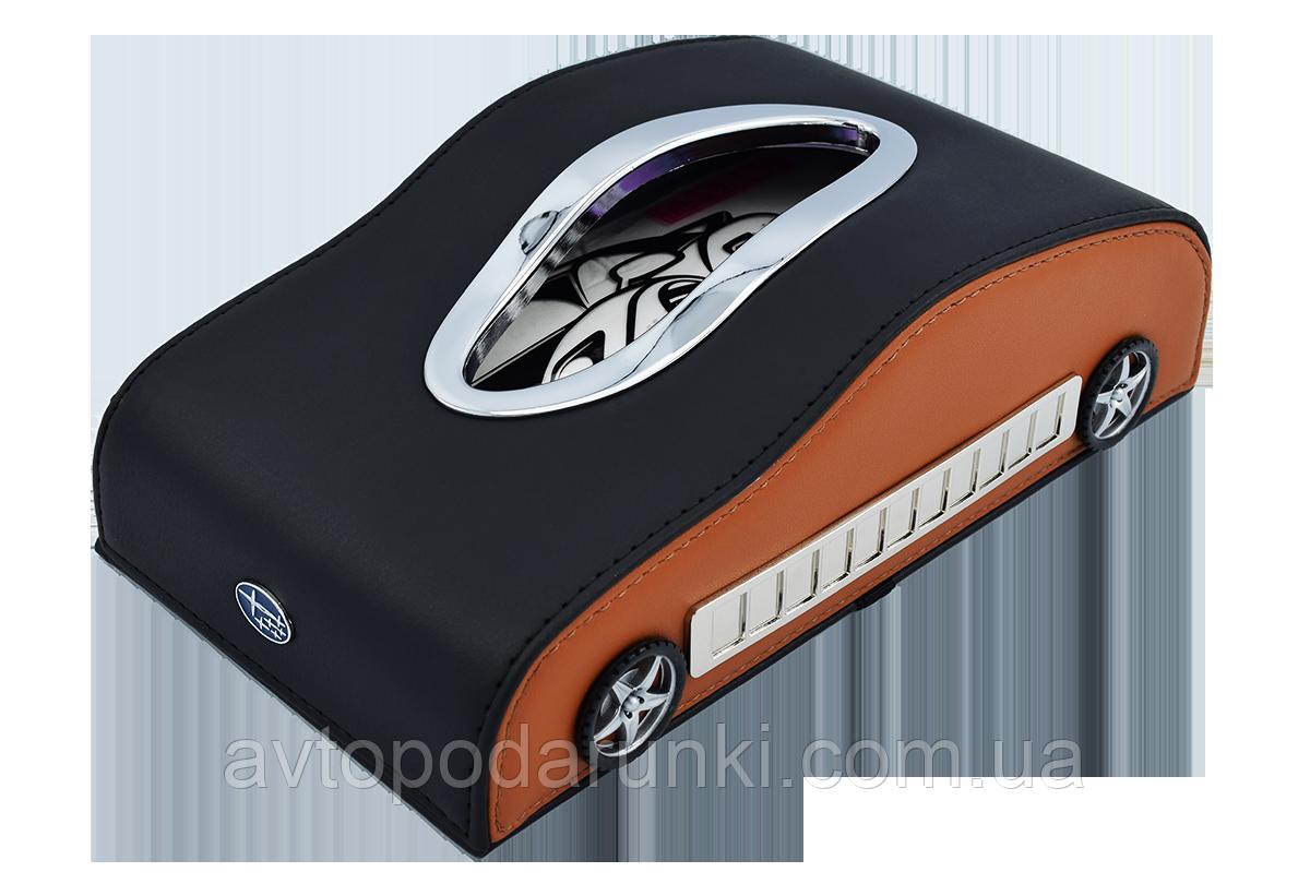 Салфетница SUBARU в автомобиль на торпеду  с ячейками под номер телефона (черная кожаная с коричневыми