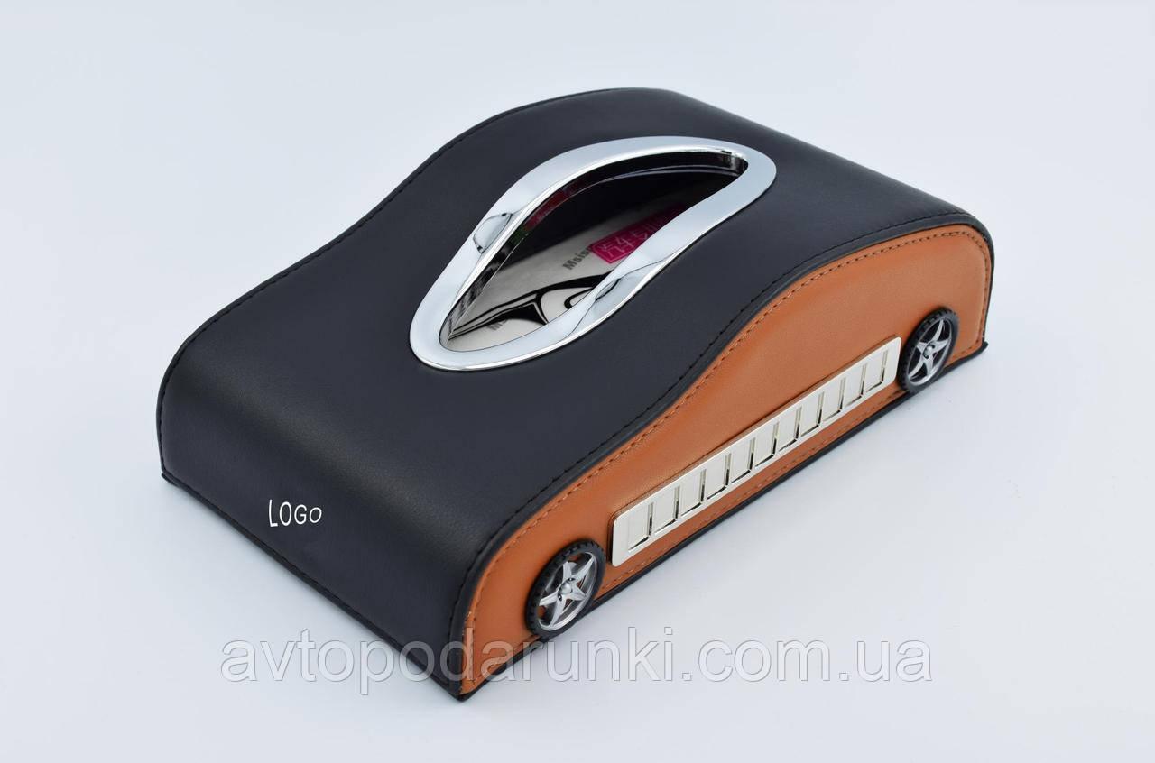 Салфетница KIA в автомобиль на торпеду с  ячейками под номер телефона (черная кожаная с коричневыми вставками)