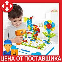 Детский пластмассовый конструктор для мальчика (3, 4, 5, 6 лет) Creative Puzzle 4in1 с шуруповертом и болтами