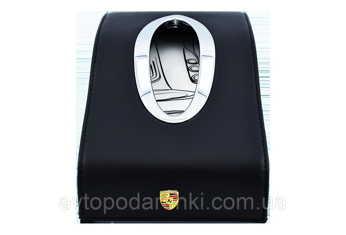 Салфетница PORSCHE в автомобиль на торпеду  с ячейками под номер телефона (черная кожаная)