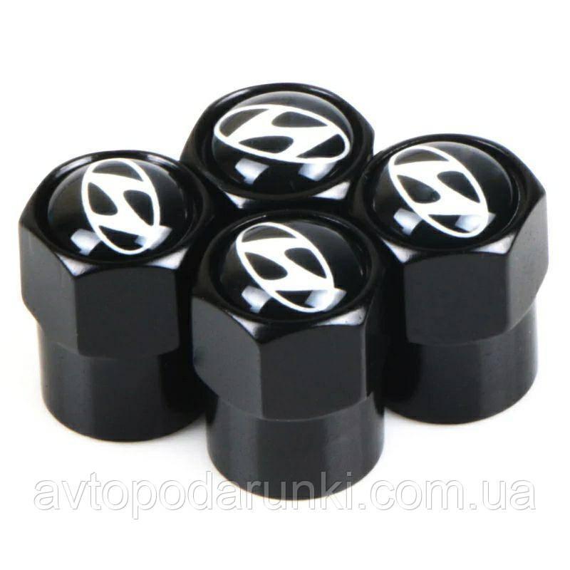 Колпачки на ниппель, золотник с логотипом  HYUNDAI, Защитные металические ЧЕРНЫЕ колпачки для ниппелей