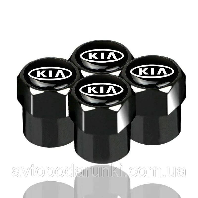 Колпачки на ниппель, золотник с логотипом  KIA, Защитные металические ЧЕРНЫЕ колпачки для ниппелей
