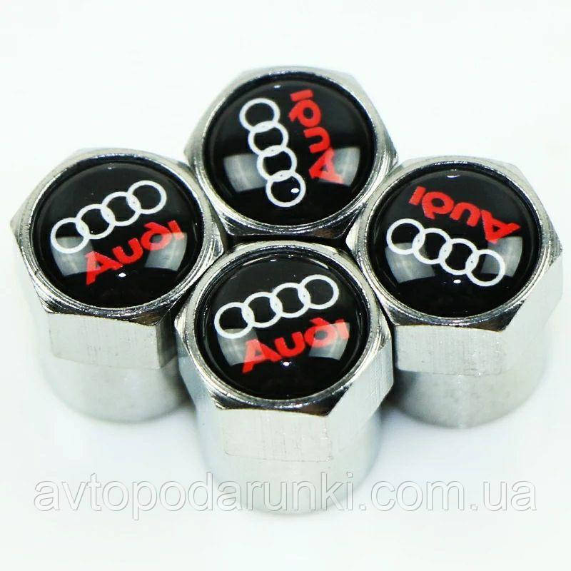Колпачки на ниппель, золотник с логотипом  AUDI, Защитные металические ХРОМ колпачки для ниппелей автомобильных колес (4 шт)