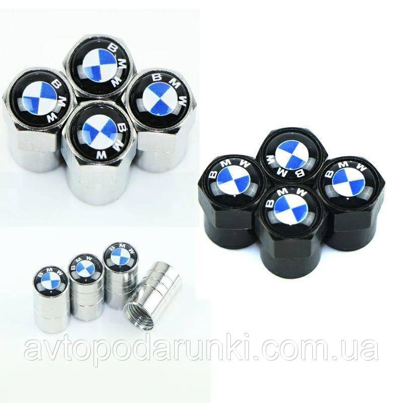 Колпачки на ниппель, золотник с логотипом  BMW, Защитные металические ХРОМ колпачки для ниппелей автомобильных