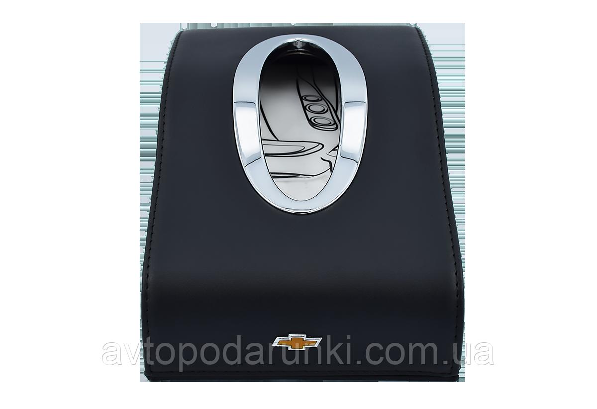 Салфетница CHEVROLET в автомобиль на торпеду  с ячейками под номер телефона (черная кожаная)