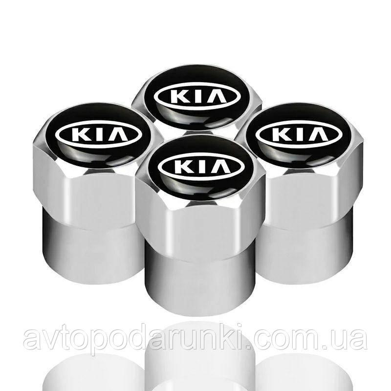 Колпачки на ниппель, золотник с логотипом  KIA, Защитные металические ХРОМ колпачки для ниппелей автомобильных