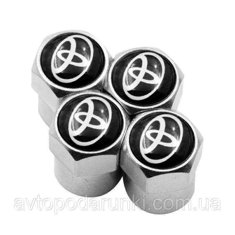 Колпачки на ниппель, золотник с логотипом  TOYOTA, Защитные металические ХРОМ колпачки для ниппелей