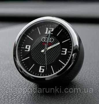 """Часы в автомобиль, темный хром """"Vihicle clock""""  с логотипом AUDI"""