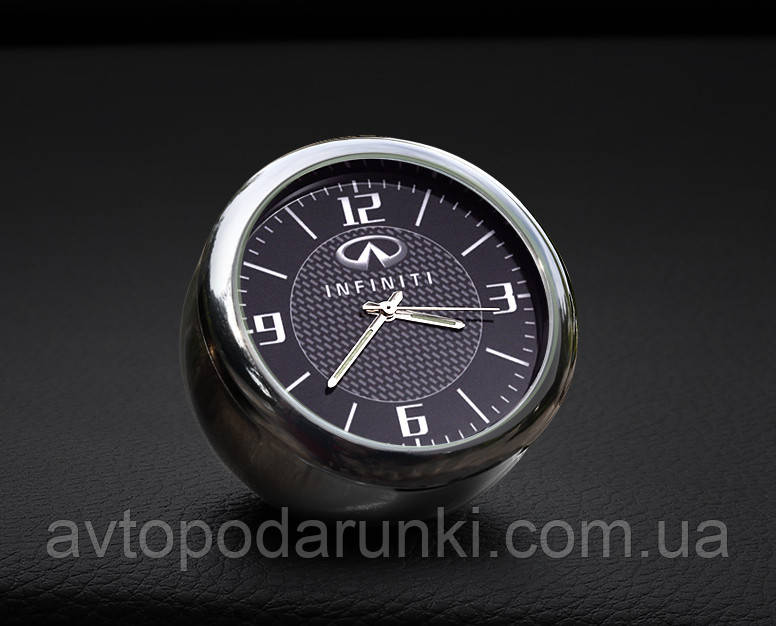 """Часы в автомобиль, темный хром """"Vihicle clock""""  с логотипом INFINITY"""