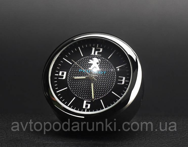 """Часы в автомобиль, темный хром """"Vihicle clock""""  с логотипом PEUGEOT"""