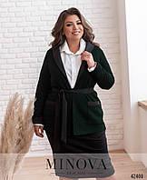 Удобный юбочный костюм, жакет без застежек на запах с 48 ро 62 размер, фото 1