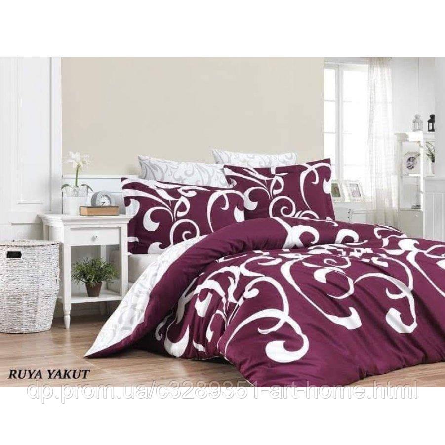 Евро постельное белье Бязь Gold - Вензель роскошный на фиолетовом