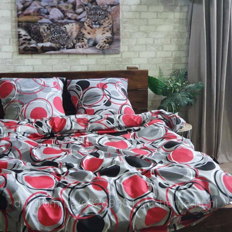 Семейное постельное белье София 3D (микросатин) - Алые круги