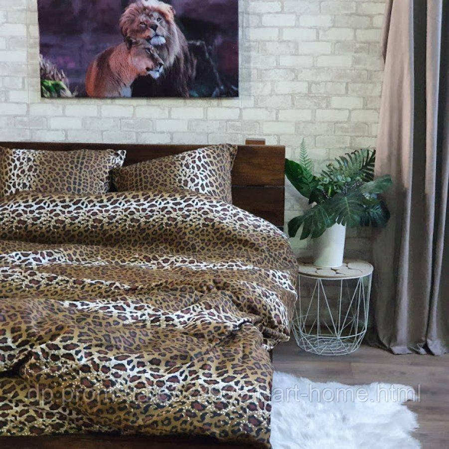 Двуспальное постельное белье София 3D (микросатин) - Леопард