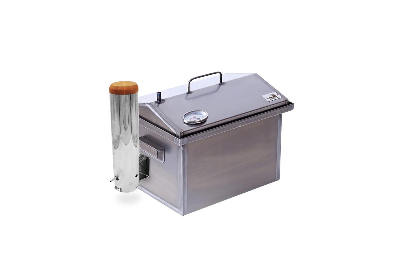 Коптильня горячего и холодного копчения с дымогенератором и термометром для дома (400х300х310)
