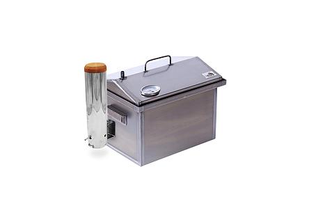 Коптильня горячего и холодного копчения с дымогенератором и термометром для дома (400х300х310), фото 2