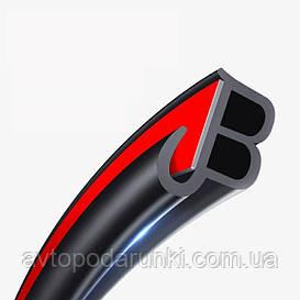 Автомобильная резиновая уплотнительная  лента анти-шум с защитой кромки двери JB - type ( ЧЕРНАЯ кромка )