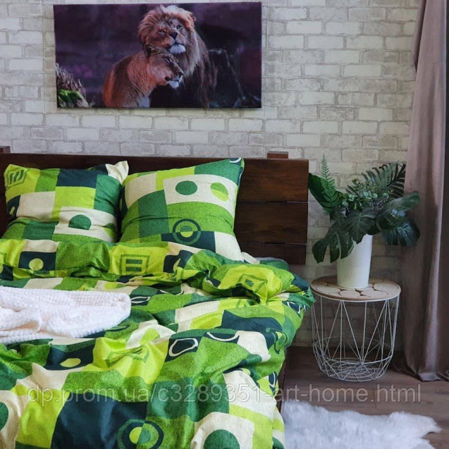 Двуспальное постельное белье София 3D (микросатин) - Зеленый сад