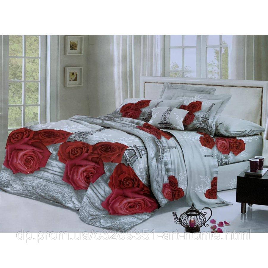 Евро постельное белье София 3D (микросатин) - Парижская романтика