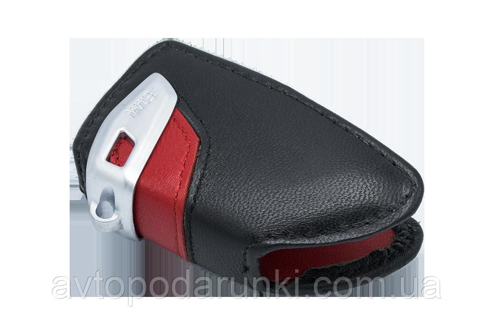 Оригинальный кожаный чехол футляр для  ключа BMW со стальным зажимом, цвет Red