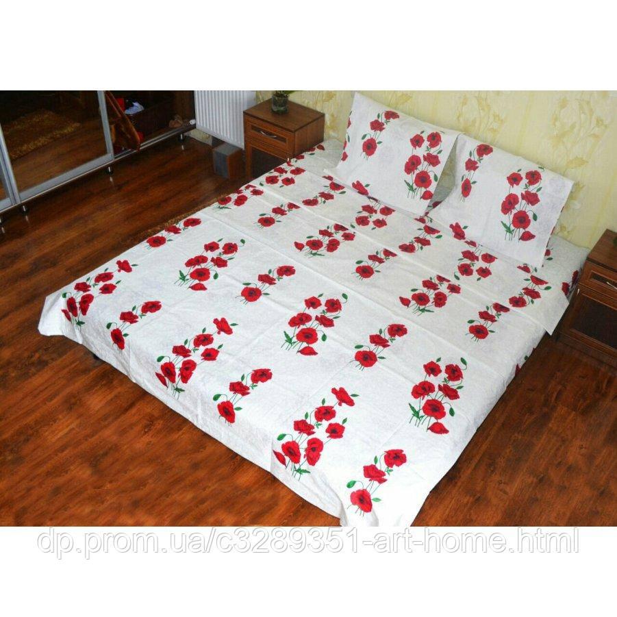 Полуторное постельное белье Бязь Gold - Красные маки на белом