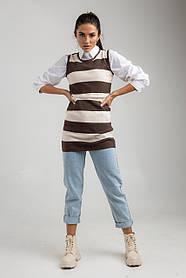 Платье трикотажное теплое в полоску без рукавов в черном, синем ,коричневом цветах в размерах S/M и ML