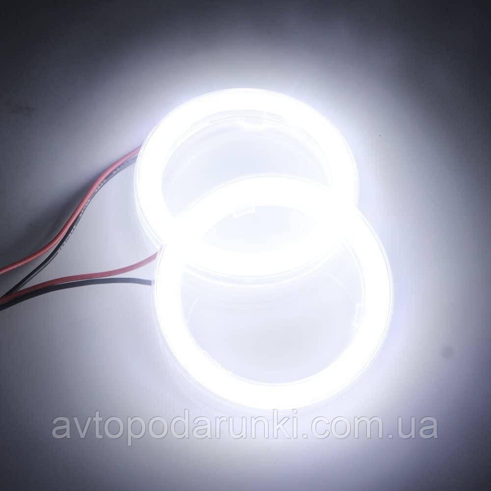 Светодиодные ангельские глазки COB 70 БЕЛЫЕ  (диаметр 58мм/73мм)