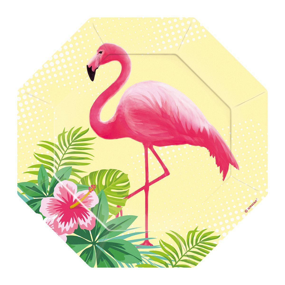 """Тарілки паперові стиль """"Фламінго"""", 8 шт, 18 см, Набор тарелок """"Фламинго"""""""